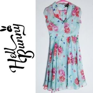 Hell Bunny Pin Up Dress Pastel Blue Pink Red Sz S